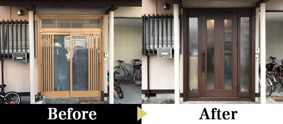 引き戸→ドアの簡単リフォーム Before→After