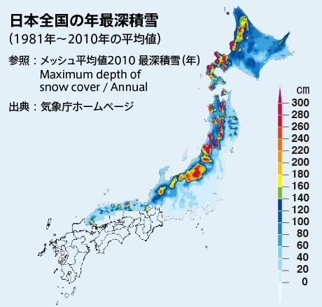 日本全国の年最深積雪